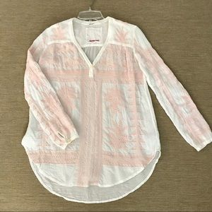 Johnny Was Top Blouse M Embroidered Pink White